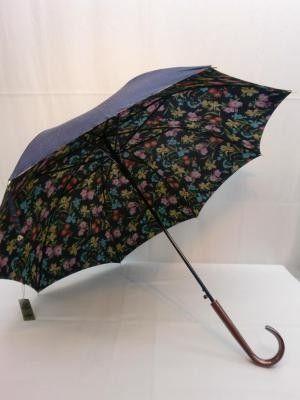 雨傘・長傘-婦人 シャンタン無地裏花プリント軽黒骨日本製ジャンプ雨傘 傘 雨具 梅雨対策 ゲリラ豪雨