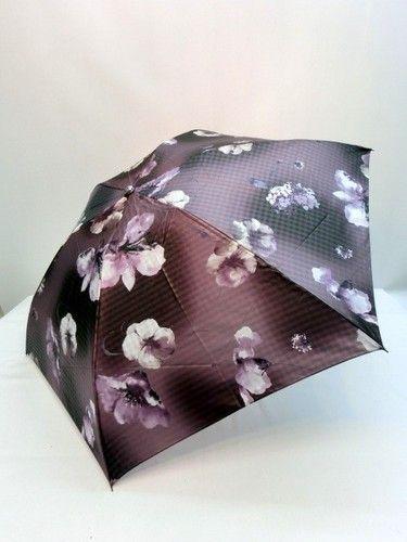 雨傘・折畳傘-婦人 ポリエステル格子ジャガード絵画調柄転写プリント軽量丸ミニ日本製折畳雨傘 傘 雨具 梅雨対策 ゲリラ豪雨【美しい】