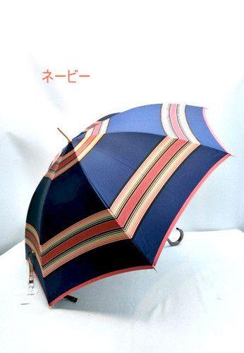 雨傘・長傘-婦人 甲州産先染め朱子格子軽量日本製金骨ジャンプ雨傘 傘 雨具 梅雨対策 ゲリラ豪雨