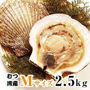 青森県むつ湾産活ほたて Mサイズ 2.5kg (12枚~14枚)「活ほたて、ホタテ、帆立、ほたて、BBQ」