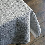 fog linen work(フォグリネンワーク) リネンテーブルクロス Lサイズ(130×180) グレーホワイトストライプ [LTT005L-GYWS] 【楽ギフ包装選択】【楽