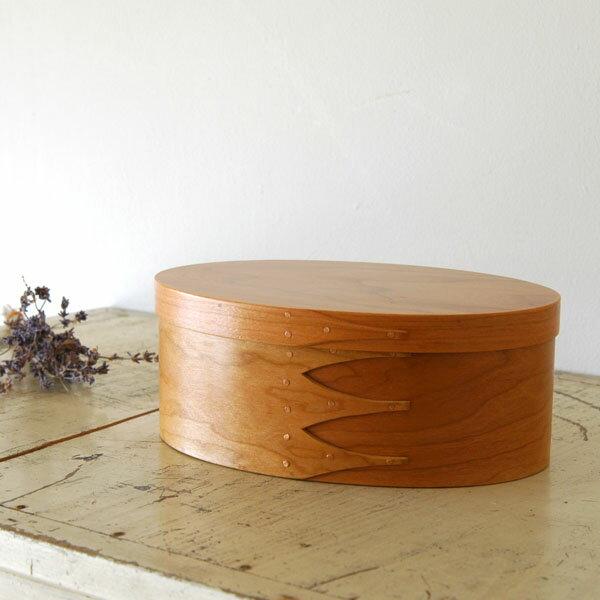 シェーカーボックス オーバル(チェリー) 4号 [BR001-2]【北欧 トレー トレイ 木製 無垢 桜 ふた付き スタッキング 裁縫箱 ソーイングボックス】