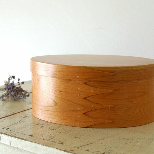 シェーカーボックス オーバル(チェリー) 6号 [BR001-4]【北欧 トレー トレイ 木製 無垢 桜 ふた付き スタッキング 裁縫箱 ソーイングボックス】