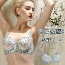ブラジャー羽毛刺繍レース 3/4カップ シルク100% 超極細絹糸 ダブルサイド...