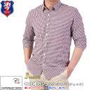 あす楽 CANTERBURY WOOD・七分袖カジュアルシャツ・チェック・メンズ(綿94%・麻6%)