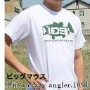 1091ビッグマウスTシャツ Black bass Crazy Angler. [コットン/和柄/釣り tシャツ/オリジナルデザイン/日本]