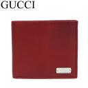 グッチ 財布 ロゴプレート カーフ レッド 二つ折り 財布 未使用 322134【中古】