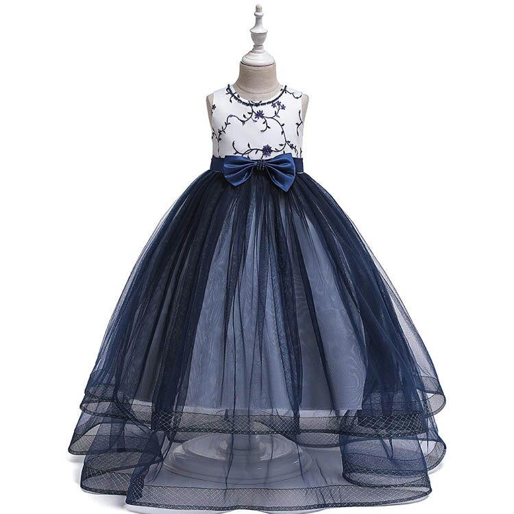 ドレス女の子発表会結婚式子どもレースワンピースお呼ばれ/ピアノ演奏会子供花刺繍柄キッズプリンセスドレ