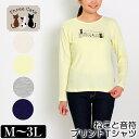 Tシャツ Three Cats(スリーキャット) ねこと音符プリントTシャツ 「長袖」 レディース スムース ラメプリント M L LL 3L クリーム ベージュ ネイビー グレー 春 「201807W」