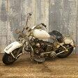 オールドアメリカンバイク!ビンテージブリキバイク/ホワイト ミニチュア ブリキバイク コレクション フィギュア