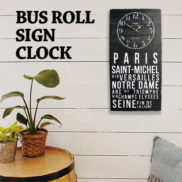 アンティーク クロック バスロールサイン(KS パリス)レトロ調 ビンテージ クロック 壁掛け時計 おしゃれ時計 アメ雑貨 看板 西海岸風 インテリア アメリカン雑貨