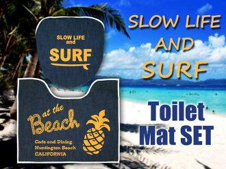 夏威夷 (深藍色牛仔布衝浪) 馬桶墊 & 涵蓋 2 個集 [馬桶 (加熱、 潔廁) 類型︰ 休閒美國美國貨物馬桶墊輪胎蓋馬桶墊套