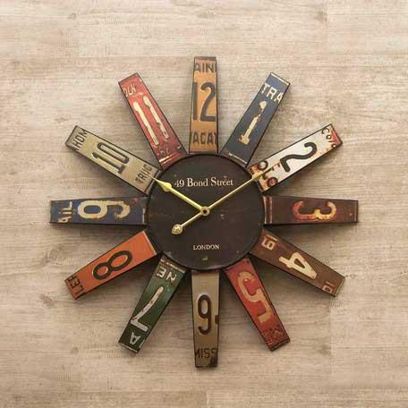 壁掛時計 アンティーク おしゃれ ナンバープレート アメリカン雑貨