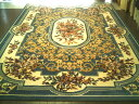 輸入カーペット絨毯360×360約8畳強ホワイト&ブルー