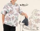 181056 エスニックデイゴ(開襟シャツ|裏地仕様) メンズ アロハシャツ かりゆしウェア