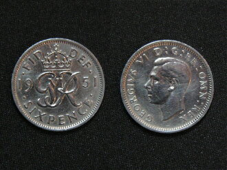United Kingdom of happiness 6 pence coin 1951, George VI.