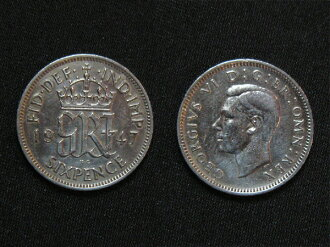 United Kingdom of happiness 6 pence coin white copper coins issued first in 1947, George VI wedding
