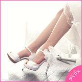 [送料無料]リムーバブルリボンコサージュアンクルストラップ付プラットフォームオープントゥパンプス[No.0731][11cm]ウェディングシューズ・結婚式・披露宴・二次会・パーティーシューズ・花嫁・靴・厚底・ドレス・ブライダル・シューズ・レディース・ハイヒール