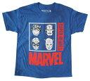 ◎【MARVEL/マーベル】Tシャツ 『SUPER HEROES 4フェイス (BL)』 spider-man・アメイジングスパイダーマン・MARVEL・マーベル・アメキャラ・アメコミ・アメリカン雑貨・アメリカ雑貨・アメ雑