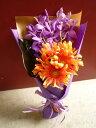 ガーベラ モカラ パープル 花束 フィロデンドロ