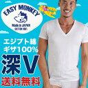 深VネックTシャツ エジプト綿 ギザ GIZA イージーモンキー限定 日本製 Made in JAPAN コットン100% コーマ糸 DEEP V 半袖Tシャツ スーパーソフト 肌着 メンズ 男性 インナー