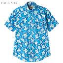 シャツ 半袖 アロハシャツ プチハイビスカス FACE MIX フェイスミックス 3色 【ゆうパケット不可】