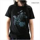 VIBGYOR ビブジョー Tシャツ メンズ ゼブラ×ボタニカル柄 M Lサイズ ホワイト ブラック