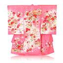 手鞠刺繍桜絞り柄レンタル 着物:ピンク色 産着 初着 レンタル 女の子 【ab】