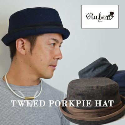 ポークパイハット ツイード メンズ ruben スーツに合う 帽子 TWEED PORK PIE HAT ルーベン ハット 秋冬
