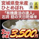 有機米の達人 石井稔さんの天日乾燥米 ひとめぼれ 2kg【29年度産】【白米・玄米 選択】