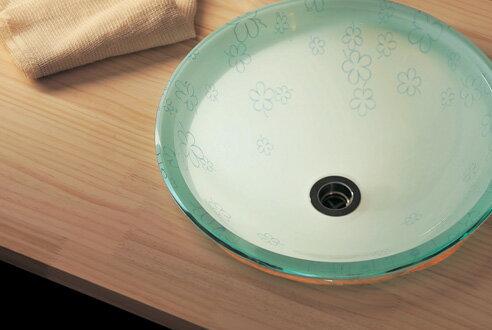 【送料無料♪】【AQUA】蒼い花(Sサイズ)|ガラス手洗い器。清潔感あるガラスの洗面ボール【P11Sep16】 ガラス手洗い器。清潔感あるガラスの洗面ボール