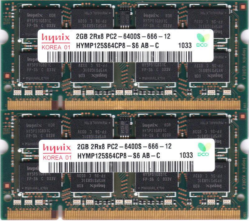 hynix PC2-6400S (DDR2-800) 2GB x 2枚組み 合計4GB Win/Macに適合 動作保証品【中古】