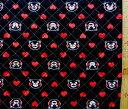 くまモン(ハート・黒)#3【キルティング】【キルト】【キャラクター】【キルティング生地】【布】
