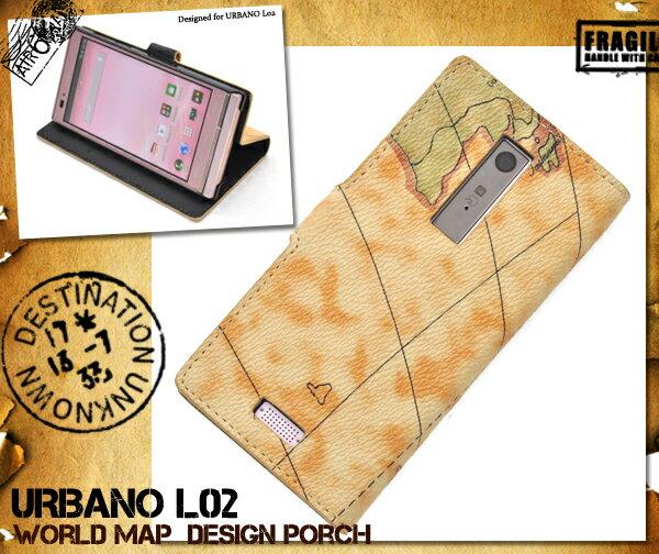 URBANO L02 KYY22用ワールドデザインケースポーチ(エーユー au スマホケース カバー ケース アルバーノ L02 スマホ スマートフォン 世界地図 地図模様 マップ )[M便 1/3]