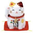 5%OFF クーポン 置物 陶製 彩絵 福招き猫 茶ブチ 敷物付 京都 かわいい 和風 手作り 小物 和雑貨 四季 なごみ 飾り 贈り物 おしゃれ
