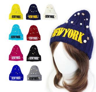 [] ★ 珍珠 & 鑲嵌的紐約圖案彩色針織帽 (繡的羊毛帽子) ★ [48 釐米 ~ 60 釐米] 孩子女士孩子繡的紐約紐約明星明星豆豆針織的帽帽松低膀胱和冬季舞蹈服飾