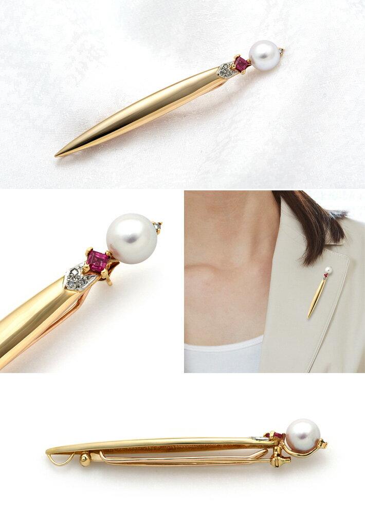 アコヤパールダイヤモンドブローチ K18/Pt900 アコヤ真珠 7.7mm ダイヤモンド 0.04ct ルビー オシャレを演出する