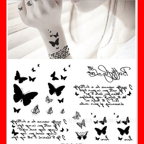 メール便OK タトゥーシール 蝶々 バタフライ 刺青タトゥーシールステッカー チョウチョウ ちょうちょう タトゥーシール