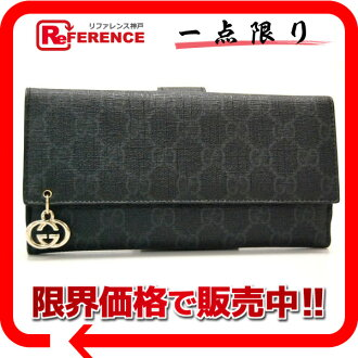 "Gucci GG PIERCE (Pierce GG) GG plus W hook length wallet black 212104 like new ""response.""-fs3gm"