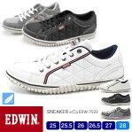 EDWIN メンズ 軽量 サイドキルティングローカットスニーカー 7533 25.0/25.5/26.0/26.5/27.0/28.0/シューズ/スニーカー/靴