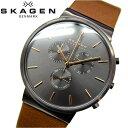 【春新生活】スカーゲン SKAGEN時計 腕時計 メンズレザー グレー ブラウン SKW6106