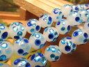 ◆ブルー◆タイプK◆昔ながらの人工ビーズ!◆10mm◆ホタルガラス【トンボ玉(とんぼ玉)】ビーズ ラウンド型◆一連◆29cm◆30珠前後◆