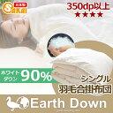 【日本製】アースダウン無地 ナチュラル羽毛 合い掛け布団 シングルサイズエクセルゴ