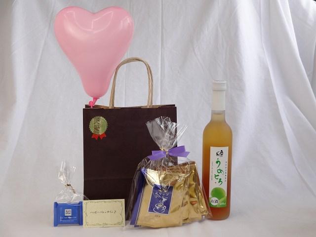 贈り物ギフト (完熟梅の味わいと日本酒のうまみをたっぷりの梅リキュール うめとろ500ml 7%奥の松酒造(福島県)+挽き立て珈琲(ドリップパック5パック)) メッセージカード ハート風船 ミニチョコ付き