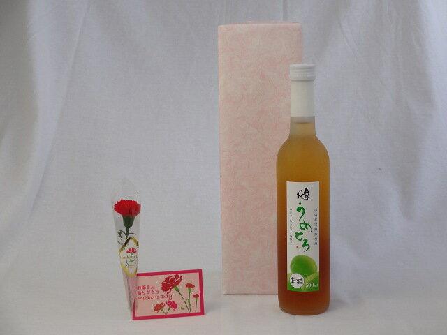 母の日 ギフトセット リキュールセット (完熟梅の味わいと日本酒のうまみをたっぷりの梅リキュール うめとろ500ml 7%奥の松酒造(福島県))母の日カード お母さんありがとうカーネイション付き