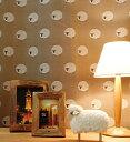 羊のドット柄の小窓カーテン・カフェカーテン【ブラウン】Sheep(シープ)- キュート・落ち着いた