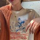楽天Senkeiレディース ロゴシャツ ロンT 半袖 Tシャツ シンプル ゆる カジュアル オーバーサイズ