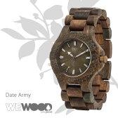 WEWOOD ウィーウッド Date Army デイト アーミー 9818026 腕時計 おしゃれ 男性用 メンズ ブラウン 天然木製 ナチュラル 国内正規品 ベルト調整無料 ギフト プレゼント 海外セレブ使用 デザイナーズ ウォッチ 流行