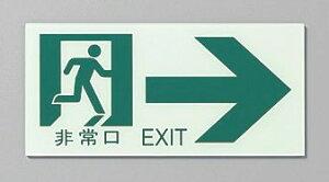 非常口EXIT通路右100×210蓄光看板サインプレート避難誘導非常口誘導