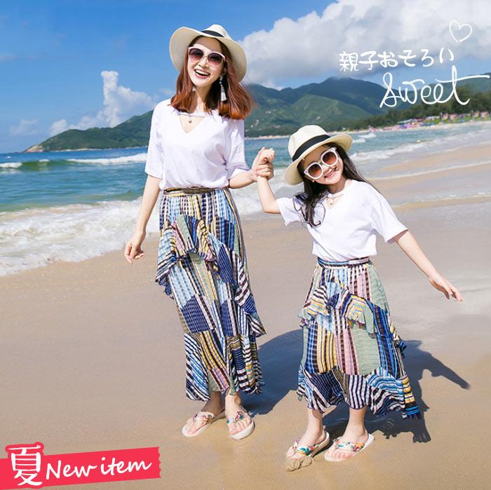 ボヘミア風 リゾートスカート+Tシャツ 親子ペア セットアップ 子供スカートセット 大人スカートセット ビーチ 柔らかい 肌にやさしい 海リゾート 旅行 家族記念 日常着装